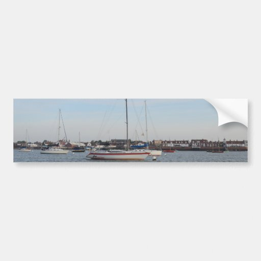 Red And white Racing Yacht Bumper Stickers