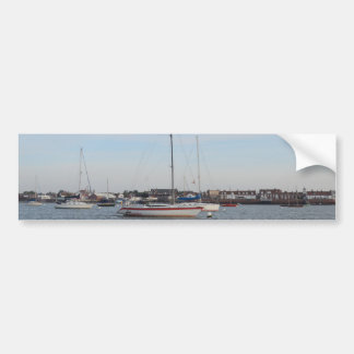 Red And white Racing Yacht Car Bumper Sticker