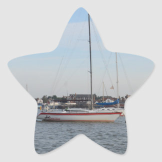 Red And white Racing Yacht Star Sticker