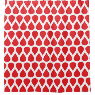 Red and White Rain Drops Dot Patterns Shower Curtain