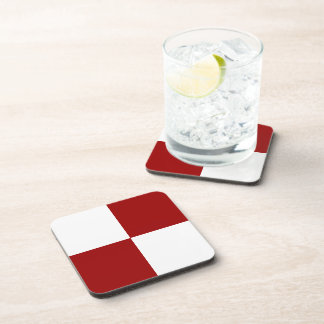 Red and White Rectangles Beverage Coaster