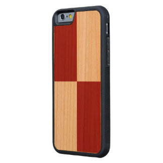 Red and White Rectangles Carved® Cherry iPhone 6 Bumper Case