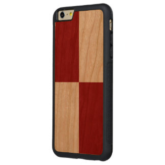 Red and White Rectangles Carved® Cherry iPhone 6 Plus Bumper Case