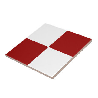 Red and White Rectangles Ceramic Tile