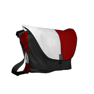 Red and White Rectangles Courier Bag