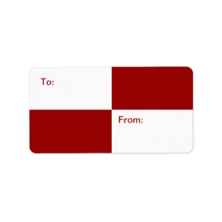 Red and White Rectangles gift tag Label