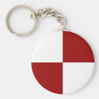 Red and White Rectangles Keychain