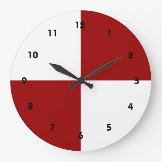 Red and White Rectangles Large Clock