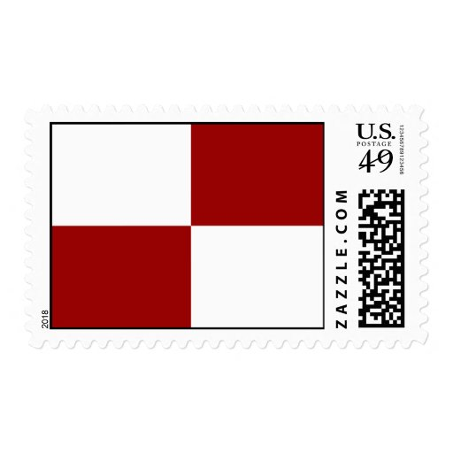 Red and White Rectangles Postage Stamp