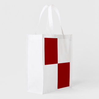 Red and White Rectangles Reusable Grocery Bag