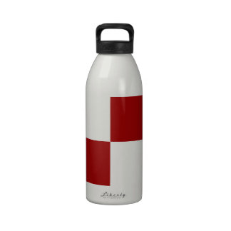 Red and White Rectangles Reusable Water Bottles