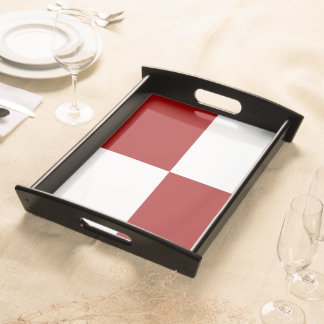 Red and White Rectangles Serving Tray