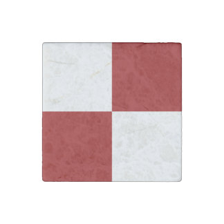 Red and White Rectangles Stone Magnet
