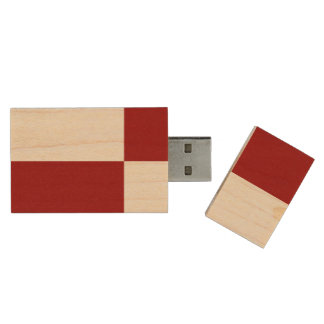 Red and White Rectangles Wood USB Flash Drive