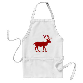 Red and White Reindeer Adult Apron