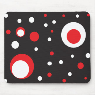 Red and White Retro Circle Mousepad