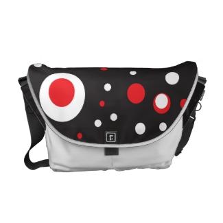 Red and White Retro Circle Rickshaw Messenger Bag