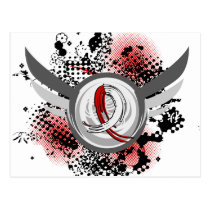 Red And White Ribbon And Wings Oral Cancer Postcard
