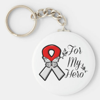 Red and White Ribbon For My Hero Basic Round Button Keychain