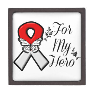 Red and White Ribbon For My Hero Jewelry Box