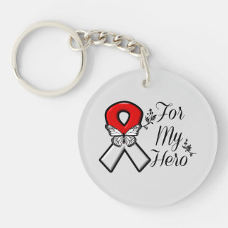 Red and White Ribbon For My Hero Single-Sided Round Acrylic Keychain