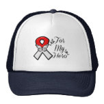 Red and White Ribbon For My Hero Trucker Hat