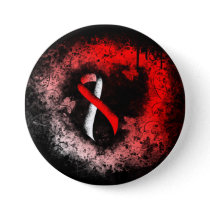 Red and White Ribbon Grunge Heart Pinback Button