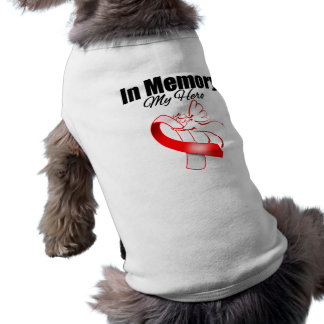 Red and White Ribbon In Memory of My Hero Doggie Shirt