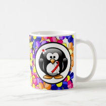 Red and White Ribbon Penguin Coffee Mug