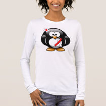 Red and White Ribbon Penguin Long Sleeve T-Shirt