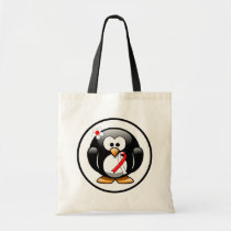 Red and White Ribbon Penguin Tote Bag