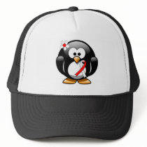 Red and White Ribbon Penguin Trucker Hat