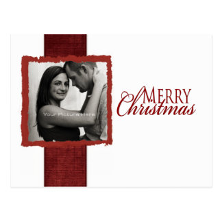 Red and White Ribbon Photo Christmas Card Post Card