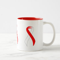 Red and White Ribbon Support Awareness Two-Tone Coffee Mug