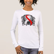 Red and White Ribbon with Wings Long Sleeve T-Shirt