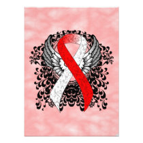 Red and White Ribbon with Wings Photo Print