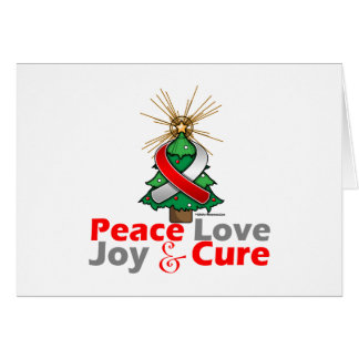 Red and White Ribbon Xmas Peace Love, Joy & Cure Greeting Card