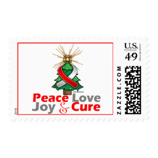Red and White Ribbon Xmas Peace Love, Joy & Cure Postage Stamps
