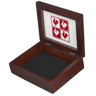 Red and White Rooster Chicken Lovers Keepsake Box