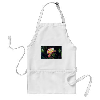 Red and white rose and buds, incandescent water gl aprons