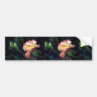Red and white rose and buds, incandescent water gl car bumper sticker