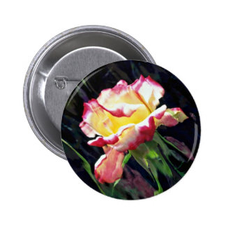 Red and white rose and buds, incandescent water gl buttons