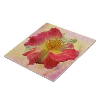 Red and White Rose Ceramic Tile