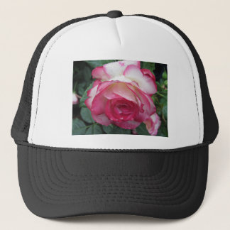 Red and white rose flowers with water droplets trucker hat