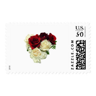 Red and White Rose Heart Postage