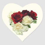 Red and White Rose Heart Stickers