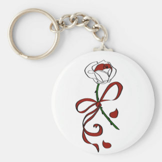 Red and White Rose Keychain