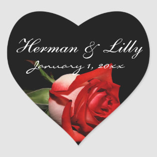 Red and White Rose Personalized Wedding Heart Sticker