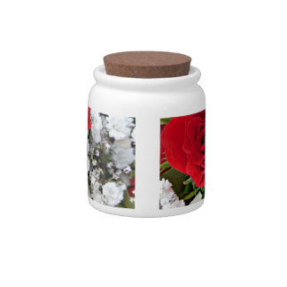 Red and white roses candy jar Romantic home decor