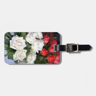 Red and white roses floral arrangement travel bag tag